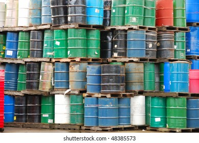 stacked barrels at an industrial site in the Willamette Valley in Oregon