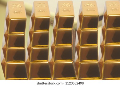 Stacked bars of gold bullion closeup .Financial concept
