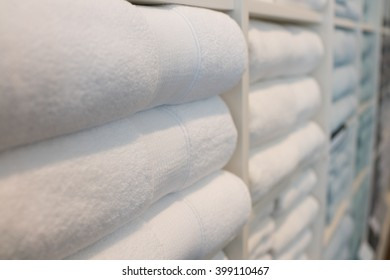 Stacked Bathroom Towels on Store Shelf