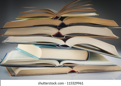 stacked books group to study and read