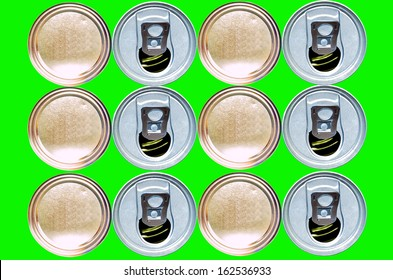 Stacked Bottom and tin cans