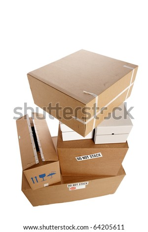 stacked boxes stickers saying do not stock photo edit now 64205611