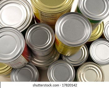 Stacked Cans of Food