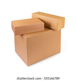 stacked cardboard boxes isolated on white background