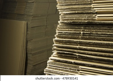Stacked cardboards, closeup