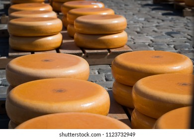 Stacked cheese at the Gouda cheese market, Netherlands