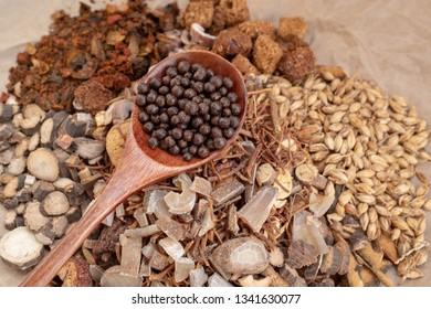 Stacked Chinese herbal medicine pills
