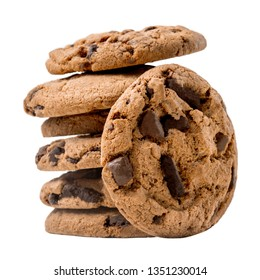 Stacked Chocolate chip cookies isolated on white background. Homemade cookies.