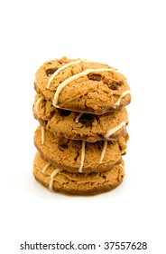 stacked chocolate chip cookies isolated on white background