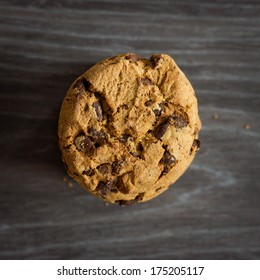 Stacked chocolate chip cookies, top view