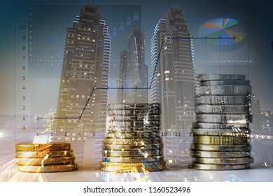 Stacked coins with a city background double exposre