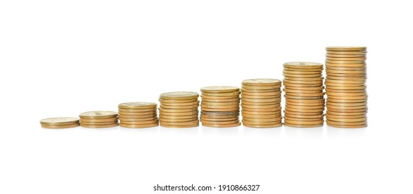 Stacked coins on white background. Investment concept