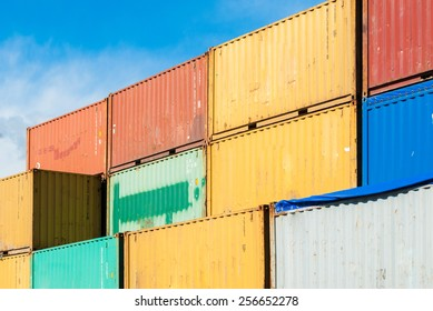 Stacked colored containers