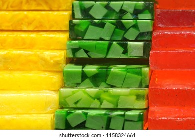 Stacked colorful soaps