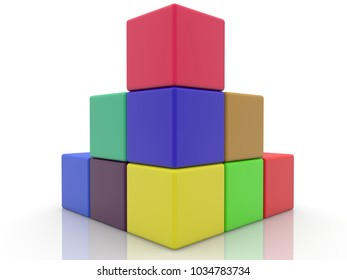 Stacked corner of colorful cubes.3d illustration