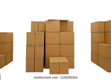Stacked of corrugated boxes in warehouse isolated white background