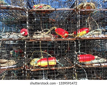 Stacked Crab traps on a commercial fishing pier