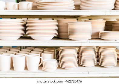 stacked cup and dish in a factory,Selective focus