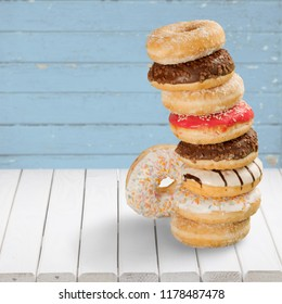 Stacked Doughnuts on desk