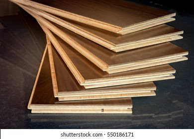 stacked engineered flooring planks