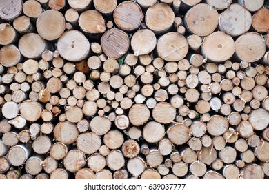 Stacked firewood closeup as background