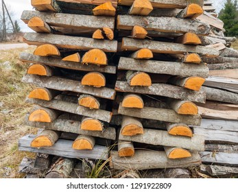 Stacked firewood in countryside