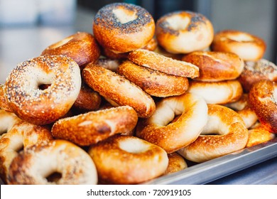 Stacked Freshly Baked Bread Bagels