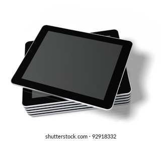 Stacked generic tablet PC / Touch panel computer with a blank screen, ready to overlay a custom screen or message.