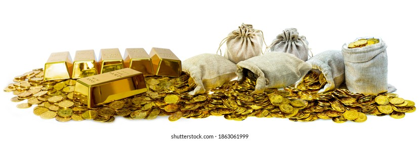 A lot of stacked gold bullion bars and gold coins in a treasure sack on a white background