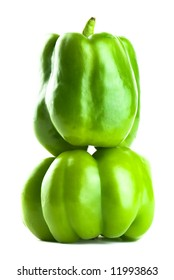 Stacked Green Bell Peppers