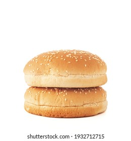 Stacked hamburger bun with salad seeds isolated on white background