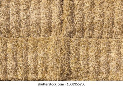 Stacked hay bales for background