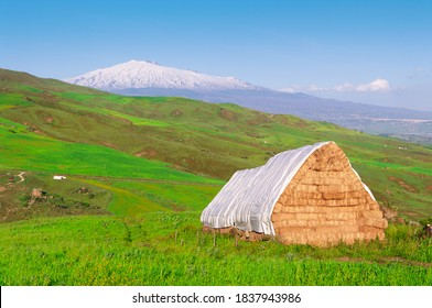 stacked hay bales and green meadows around Etna Volcano snowy, a typical scenery of Sicily agriculture