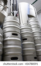 Stacked Keg and beer distillery at bewery