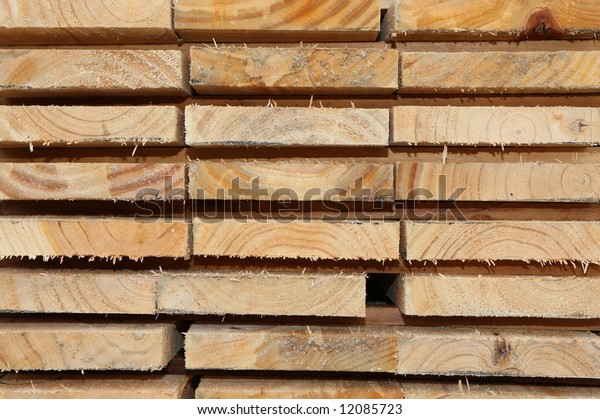 Stacked Kiln-Dried Planks