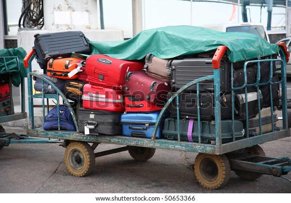 Stacked luggage at  International Airport