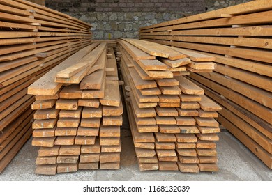 Stacked lumber ready to be sent to customers.