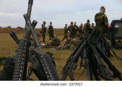 Stacked M16 US ARMY rifles