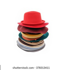 Stacked of many woman hat isolated