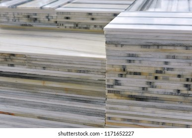 Stacked marble tiles end slabs  - marble industry factory