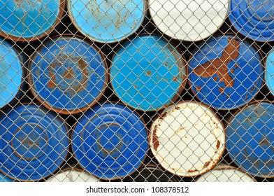 Stacked metal barrels