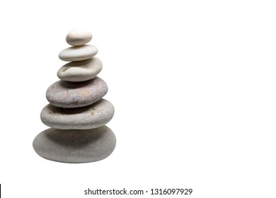 stacked pebbles isolated with white background