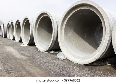 stacked pipe at concrete factory