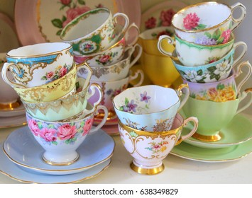 Stacked pretty vintage tea cups - afternoon tea party
