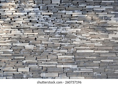 Stacked Slate Stone Wall as horizontal textured background