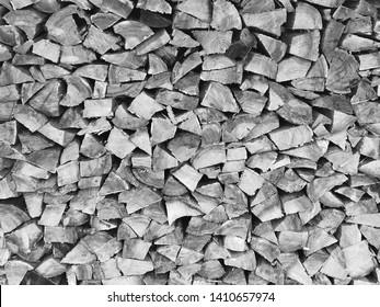 Stacked split firewood for woodstove