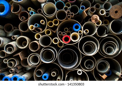 Stacked steel pipes and tubes background