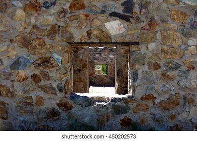 Stacked stone windows of Civilian Conservation Corps cabin. Albuquerque, New Mexico.