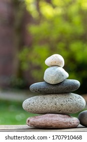stacked stones in nature for commercial background