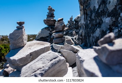 Stacked Stones on top of Table Mountain in Cape Town